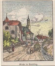 Orig. kolorierte Holzstich - Bayern - Kirche in Sendling.