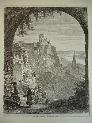 Orig. Holzstich - Het slot te heidelberg, van het terras gezien.