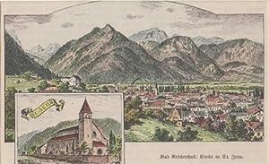 Orig. kolorierter Holzstich - Bayern - Bad Reichenhall.