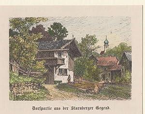 Orig. kolorierter Holzstich - Bayern - Dorfpartie aus der Starnberger Gegend.