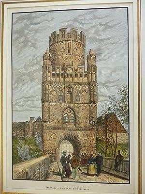 Orig. kolorierter Holzstich - Stendal. - La Porte d'Uenglingen.
