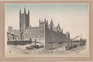 Orig. Holzstich - Das Parlament Gebäude in London.
