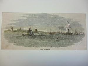 Orig. kolorierter Holzstich - Tonning, on the Eyder.
