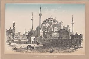 Orig. kolorierter Holzstich - Aja Sophia in Constantinopel.