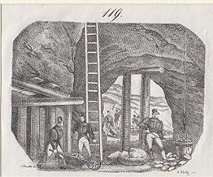 Orig. Kupferstich - Bergbau.