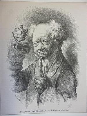Orig. Holzstich - Scultetus - Ein Doktor nach seiner Art.