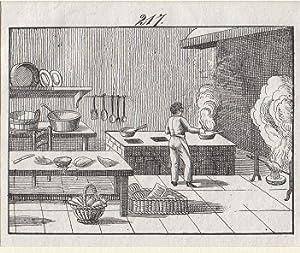 Orig. Kupferstich - Kochen - Der Koch.