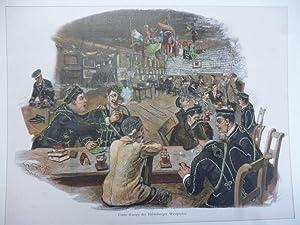 Orig. kolorierter Holzstich - Studentica - Corps-Kneipe der Heidelberger Westphalen.