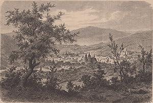 Orig. Holzstich - Thüringen - Ansicht von Schmalkalden.