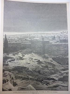 Orig. Holzstich - Jerusalem - Professor Piglheins Panorama der Kreuzigung Christi: VII. Gruppe der ...