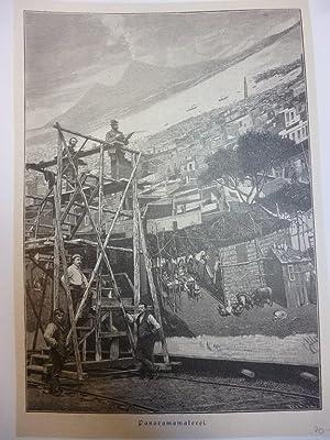 Orig. Holzstich - Malerei - Panoramamalerei.