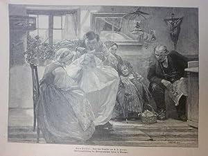 Orig. Holzstich - Frisur - Beim Friseur. Nach dem Gemälde von A. L. Halmi.