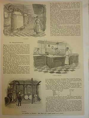 Orig. Holzstich - Molkerei - Die Fabrikation der Margarina. 2 Blatt. Nach Skizzen von C. Schildt ...