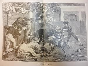 Orig. Holzstich - Stierkampf - Ein Stiergefecht. Nach dem Gemälde von A. Michelena.