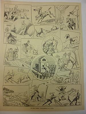 Orig. Holzstich - Malgrundlage - Die lieben Tierchen! Originalzeichnung von J. Bahr.