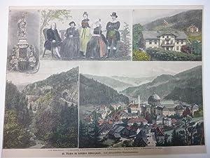 Orig. kolorierter Holzstich - Stadtansichten Deutschland B - St. Blasien im badischen Schwarzwald. ...