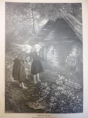 Orig. Holzstich - Märchen/Sagen - Wohnt hier die Hexe? Nach dem Gemälde von P. Kohlschütter.