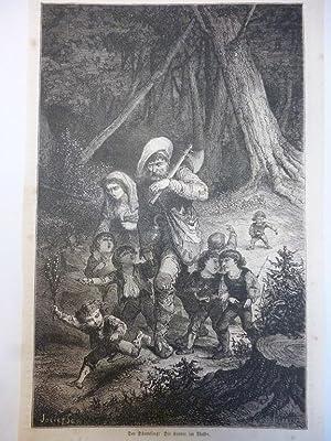 Orig. Holzstich - Märchen/Sagen - Der Däumling: Die Kinder im Walde.