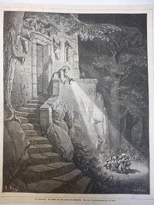 Orig. Holzstich - Märchen/Sagen - Der Däumling. Die Kinder vor dem Hause des Wehrwolfs. Nach einer ...