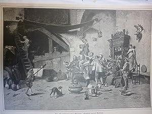 Orig. Holzstich - Märchen/Sagen - Die Begrüßung des Zwergs. Gemälde von P. Maffani.
