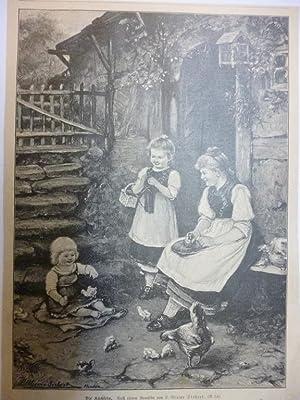 Orig. Holzstich - Kinder - Die Küchlein. Nach einem Gemälde von L. Blume-Siebert.