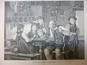 Orig. Holzstich - Kinder - Märchen. Nach dem Gemälde von Ludwig Vollmar.