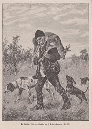 Orig. Holzstich: Der Treiber. Nach dem Gemälde von Joseph Schmitzberger.