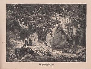 Orig. Holzstich: Die tausendjährige Eiche. Gemälde von C. F. Lessing.