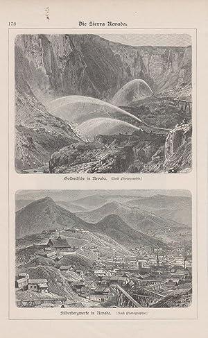 Orig. Holzstich: Die Sierra Nevada. Goldwäsche in Nevada. Silberbergwerke in Nevada.