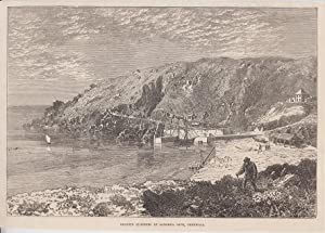 Orig. Holzstich: Granite quarries at lamorna cove, cornwall.