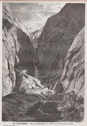 Orig. Holzstich: Der Quell Kastalia. Nach dem Original gemälde von L. Löffler, von ihm selbst auf ...
