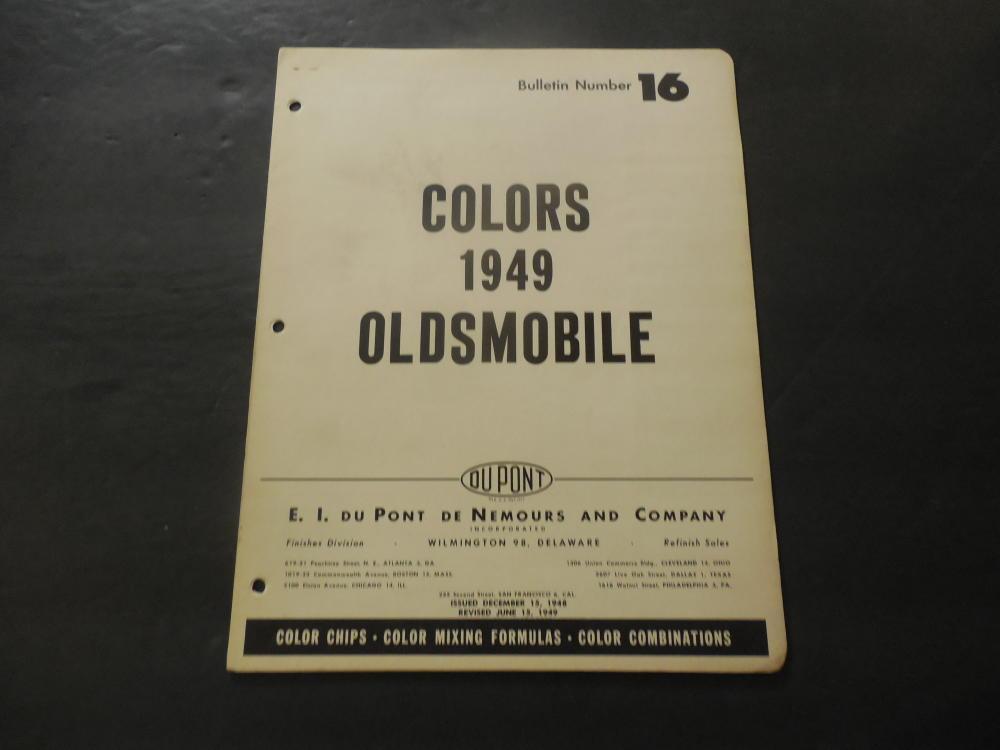 Oldsmobile Colors 1949 Bulletin #16 Du Pont