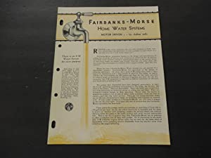 Fairbanks-Morse Home Water Systems Pamphlet Unknown Year