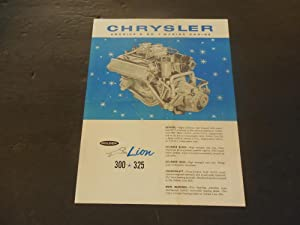 Chrysler Marine Engines Advertising Brochure Golden Lion 300 - 325