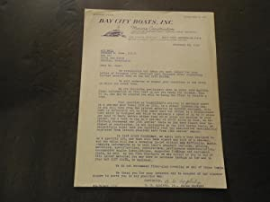 Ltr From Bay City Boats To Dr Terence Orme Feb 23 1953 Bay City System