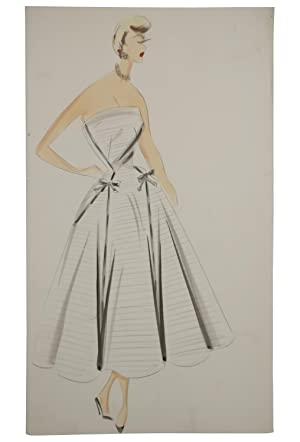 A collection of 1950s' fashion illustrations depicting designs by fashion couturiers including Ba...