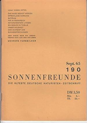 Heft 190. Offizielles Organ der deutschen Bundes: FKK.- SONNENFREUNDE.-