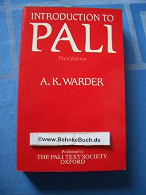 Introduction to Pali.: Warder, A. K.