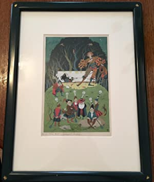 WATER COLOUR PAINTING OF SNOWDROP (SNOW WHITE) AND THE SEVEN DWARVES. Original watercolour Illust...