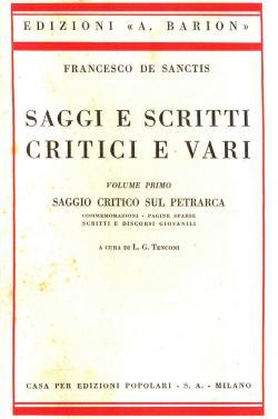 Saggi e scritti critici e vari -: Francesco DE SANCTIS