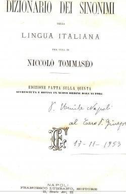 Dizionario dei sinonimi della Lingua Italiana per cura di Niccolà Tommaseo - edizione fatta ...