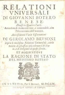 Relationi universali di Giovanni Botero Benese Divise: BOTERO Giovanni -