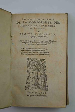 L'introduction au traité de la conformite des: ESTIENNE HENRI.