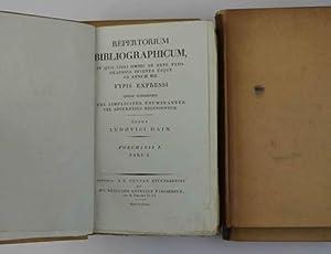 Repertorium bibliographicum, in qui libri omnes ab: HAIN LUDWIG.