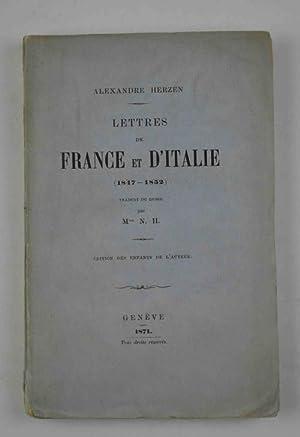 Lettres de France ed d'Italie (1847-1852) traduit: HERZEN ALEXANDRE.