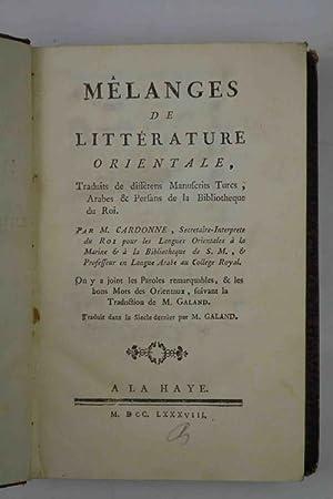 Mélanges de littérature orientale, traduits de différents: CARDONNE M.