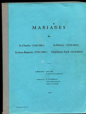 Mariages Marriages St Charles St Hilaire St: Jette Irenee