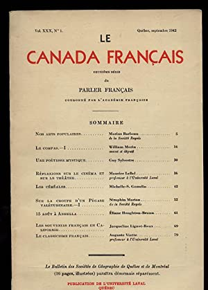 Le Canada Francais: (Université Laval ) Vol XXX No 1 Septembre 1942