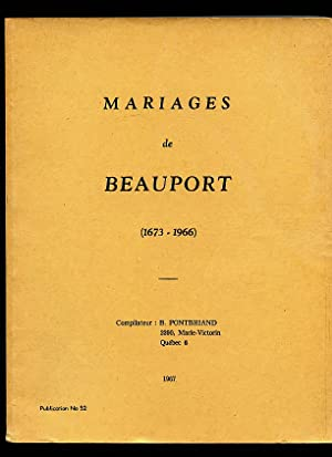 Mariages Marriages De Beauport Quebec County #: Pontbriand Benoit &