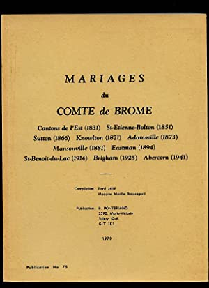Brome County RC Marriages Brome Cantons de: Pontbriand Benoit &
